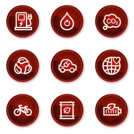 electro world: Ecology web icons set 4, dark red circle buttons Illustration