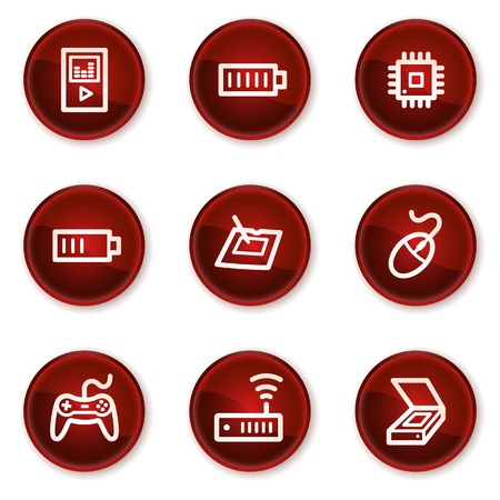 wacom: Electronics web icons set 2, dark red circle buttons Illustration