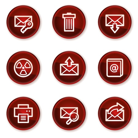 E-mail web icons set 2, dark red circle buttons Vector