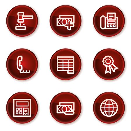 Finance web icons set 2, dark red circle buttons Stock Vector - 21319531