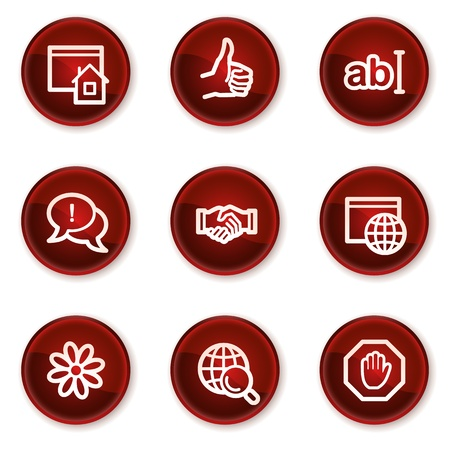icq: Internet web icons set 1, dark red circle buttons Illustration