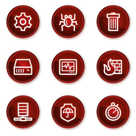 Internet security web icons, dark red circle buttons Vector