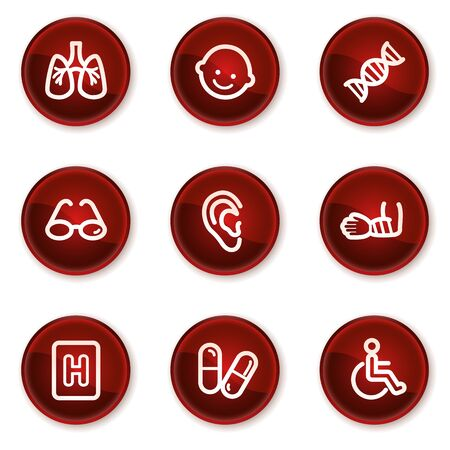 Medicine web icons set 2, dark red circle buttons Vector