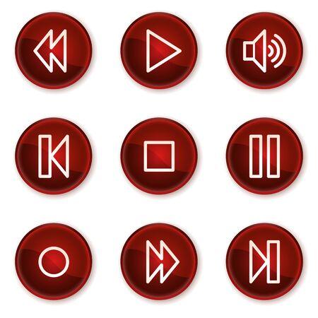 rewind icon: Walkman web icons, dark red circle buttons