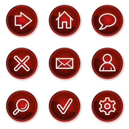 Basic web icons, dark red circle buttons Vector