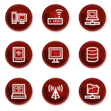 Network web icons, dark red circle buttons Stock Vector - 21319556