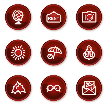 Travel web icons set 5, dark red circle buttons Vector