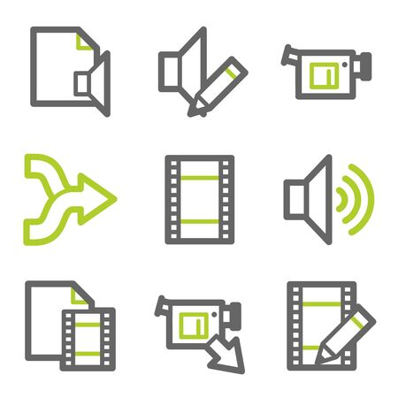 edit icon: Audio video edit  web icons, white glossy buttons