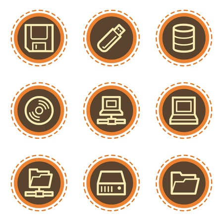 Drives and storage web icons, vintage buttons Vector