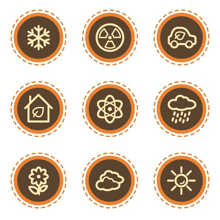 Ecology web icons set 2, vintage buttons Stock Vector - 21601505