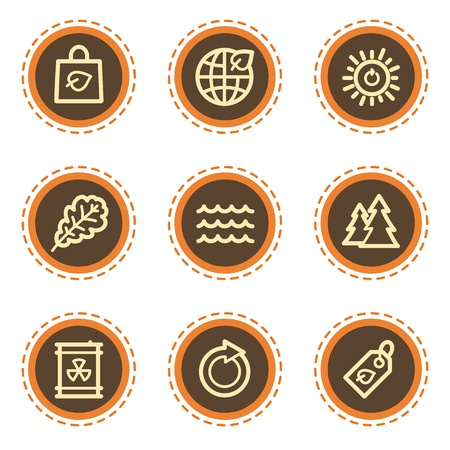Ecology web icons set 3, vintage buttons Stock Vector - 21601506