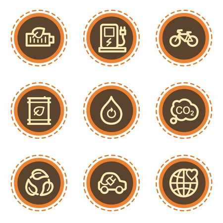 electro world: Ecology web icons set 4, vintage buttons Illustration