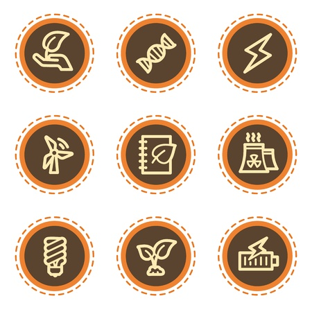 co2: Ecology web icons set 5, vintage buttons