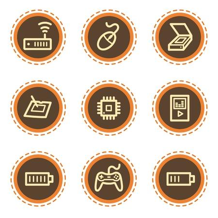 Electronics web icons set 2, vintage buttons Vector