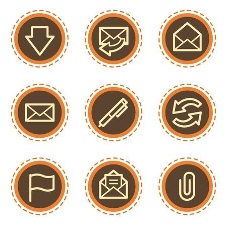 webmail: E-mail web icons, vintage buttons Illustration