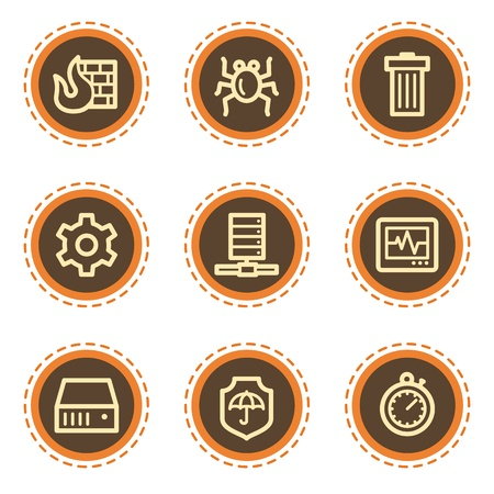 adware: Internet security web icons, vintage buttons