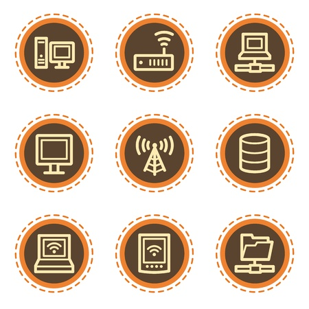 access point: Network web icons, vintage buttons