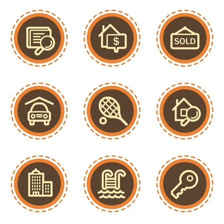 real tennis: Real estate web icons, vintage buttons Illustration