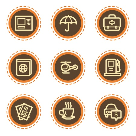 Travel web icons set 4, vintage buttons Vector