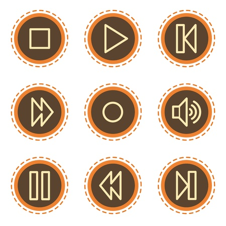 pause button: Walkman web icons, vintage buttons