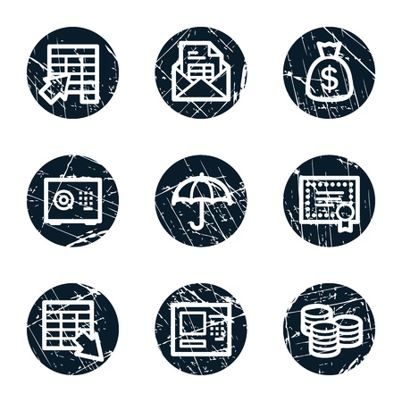 Banking web icons, grunge circle buttons Stock Vector - 21632502