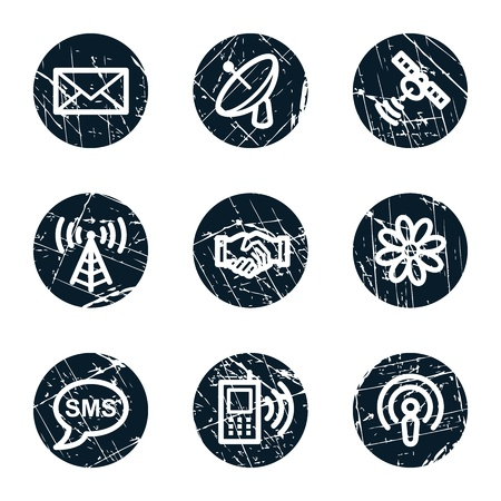 access point: Communication web icons, grunge circle buttons