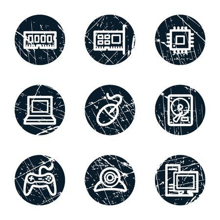 webcamera: Computer web icons, grunge circle buttons Illustration