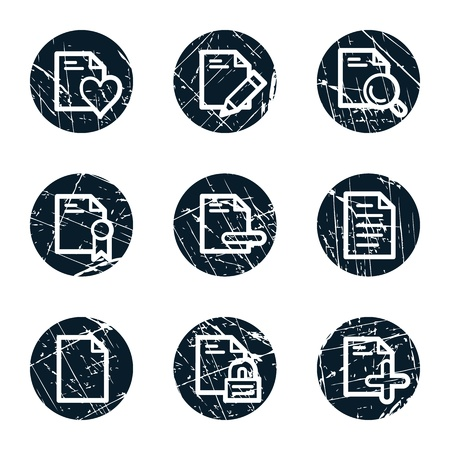 Document web icons set 2, grunge circle buttons Vector