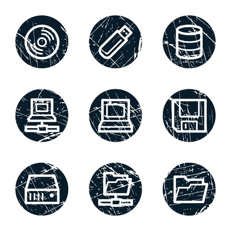 floppy: Drives and storage web icons, grunge circle buttons Illustration