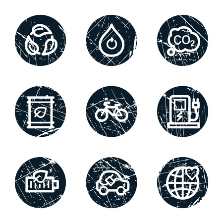 electro world: Ecology web icons set 4, grunge circle buttons Illustration