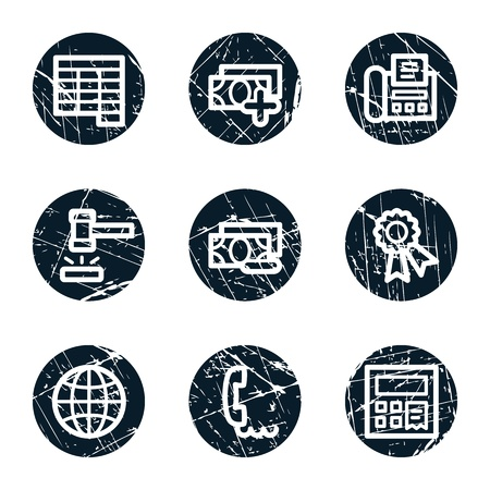 Finance web icons set 2, grunge circle buttons Stock Vector - 21643886