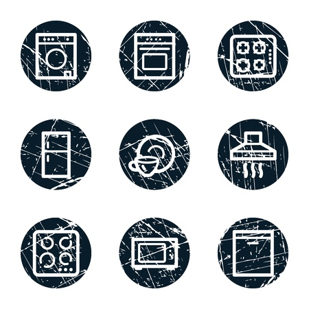 gas laundry: Home appliances web icons, grunge circle buttons Illustration