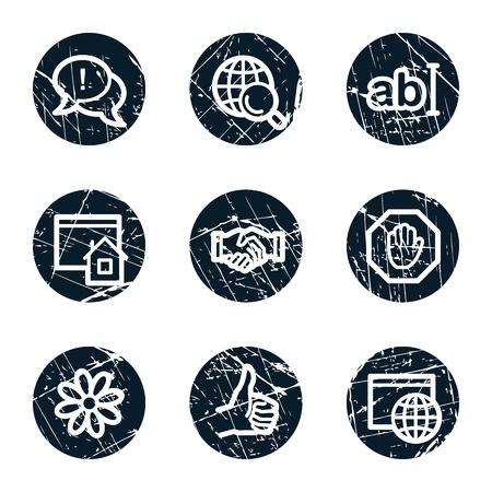icq: Internet web icons set 1, grunge circle buttons Illustration