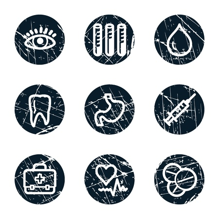 oculist: Medicine web icons set 1, grunge circle buttons