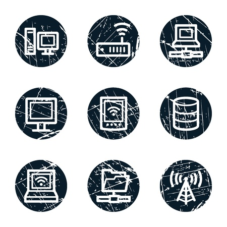 access point: Network web icons, grunge circle buttons Illustration