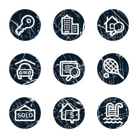 Real estate web icons, grunge circle buttons Vector