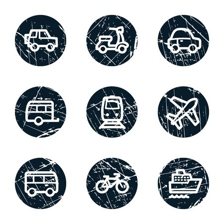 Transport web icons, grunge circle buttons Vector