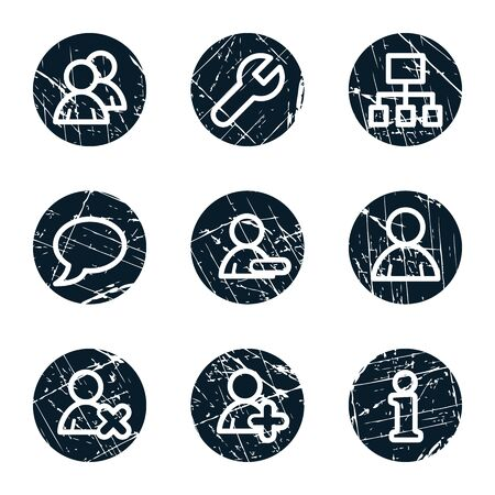 Users web icons, grunge circle buttons Vector