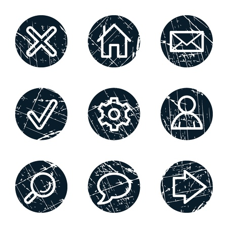 Basic web icons, grunge circle buttons Stock Vector - 21643916