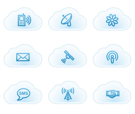 sat: Communication  web icons, cloud buttons Illustration