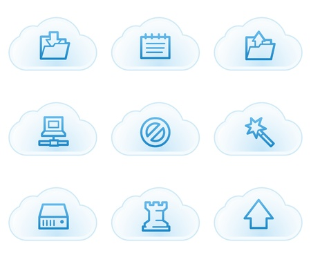 Data web icons, cloud buttons Stock Vector - 21702889