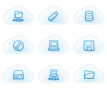 fdd: Drives and storage web icons, cloud buttons