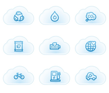Ecology web icons set 4, cloud buttons Vector