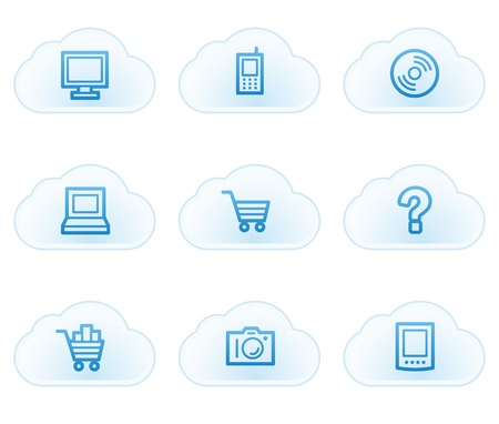 Electronics web icons set 1, cloud buttons Stock Vector - 21702929