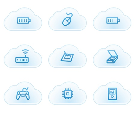 Electronics web icons set 2, cloud buttons Stock Vector - 21702930