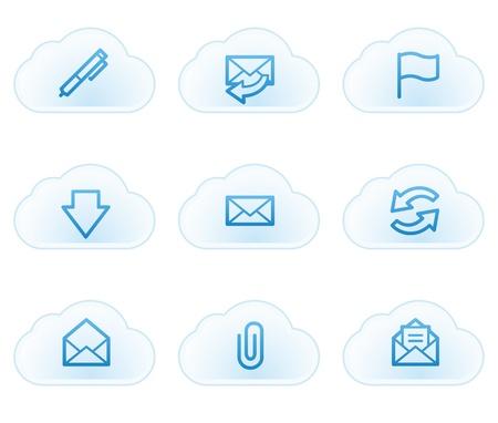 webmail: E-mail web icons, cloud buttons Illustration
