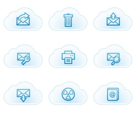 E-mail web icons set 2, cloud buttons Vector