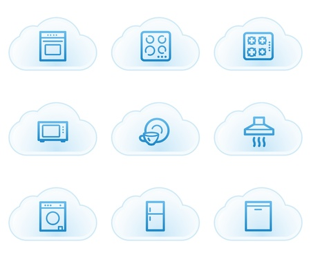 gas laundry: Home appliances web icons, cloud buttons