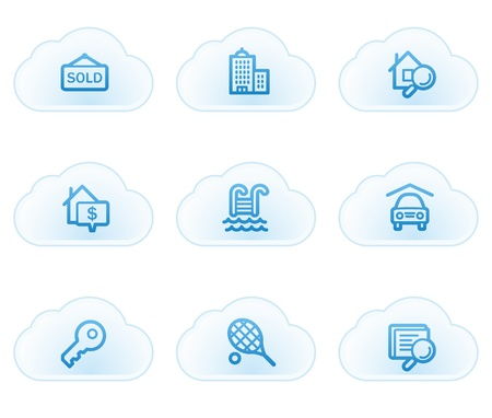 real tennis: Real estate web icons, cloud buttons