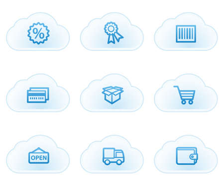 billfold: Shopping web icons set 2, cloud buttons